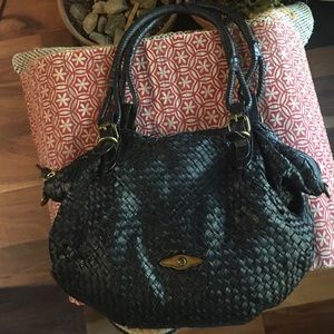 Elliott Lucca Leather Braided Basketweave Hobo Bag